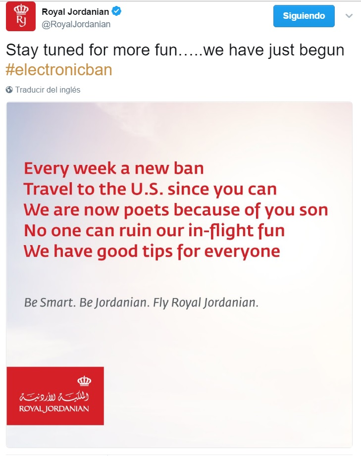 Royal Jordanian Tweet poema